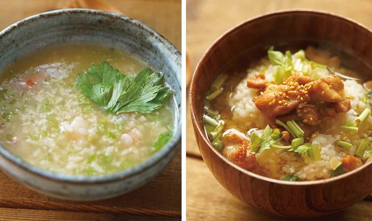 鹹粥泡飯輕鬆做,芹菜蝦仁粥與高湯雞肉泡飯
