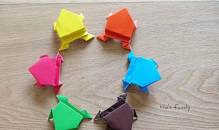 孩子在家不無聊,來學青蛙摺紙