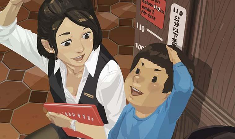 育兒生活小趣事,小孩去餐廳時都喜歡衝去量身高