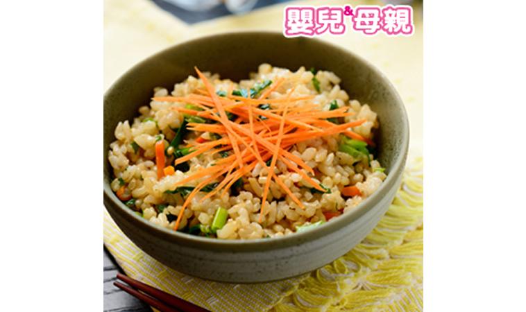 鮮蔬糙米飯、老薑麻油炒豬肝