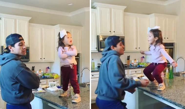 父女共舞超有趣,跳舞熱情大噴發