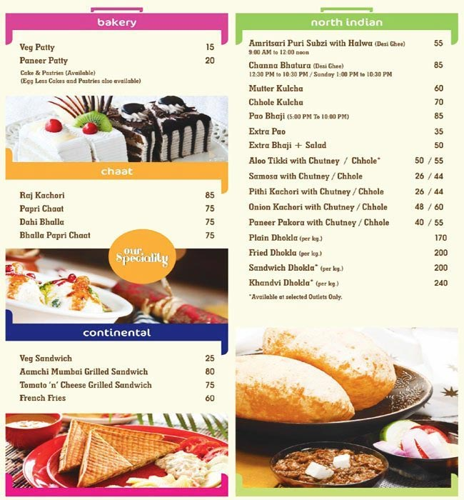 Raj Foods Sector  Menu