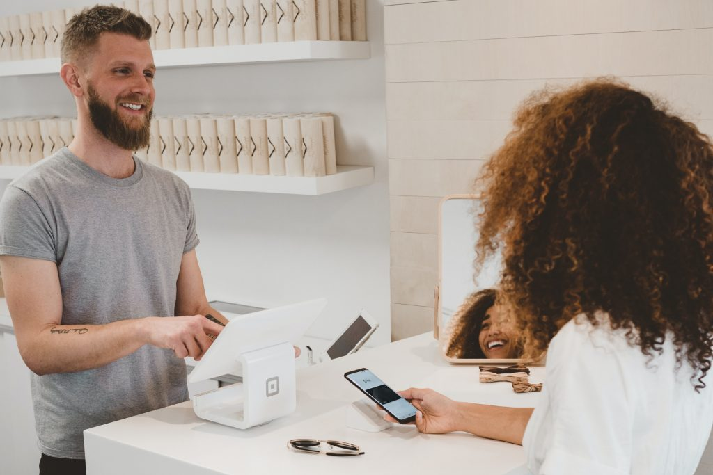What customers want image - man in shop digital experience