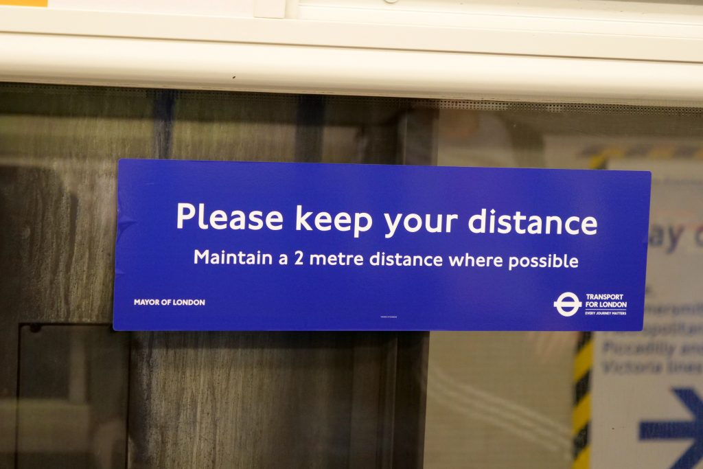 Retail trends for 2021 - ethical values and messaging. From the London Tube maintain distance image