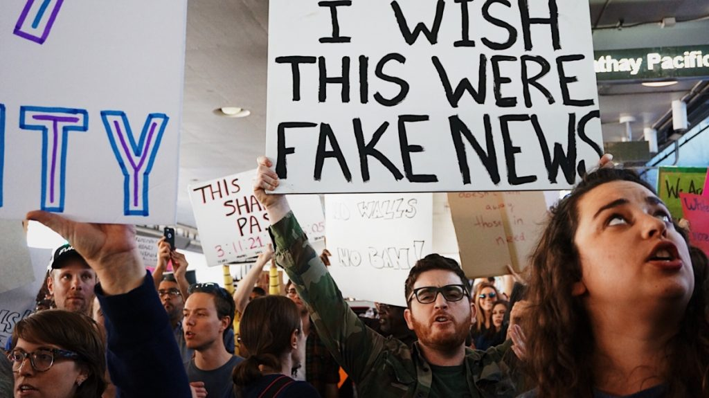 """A demonstration referring to """"fake news - Climate adaptation narratives"""