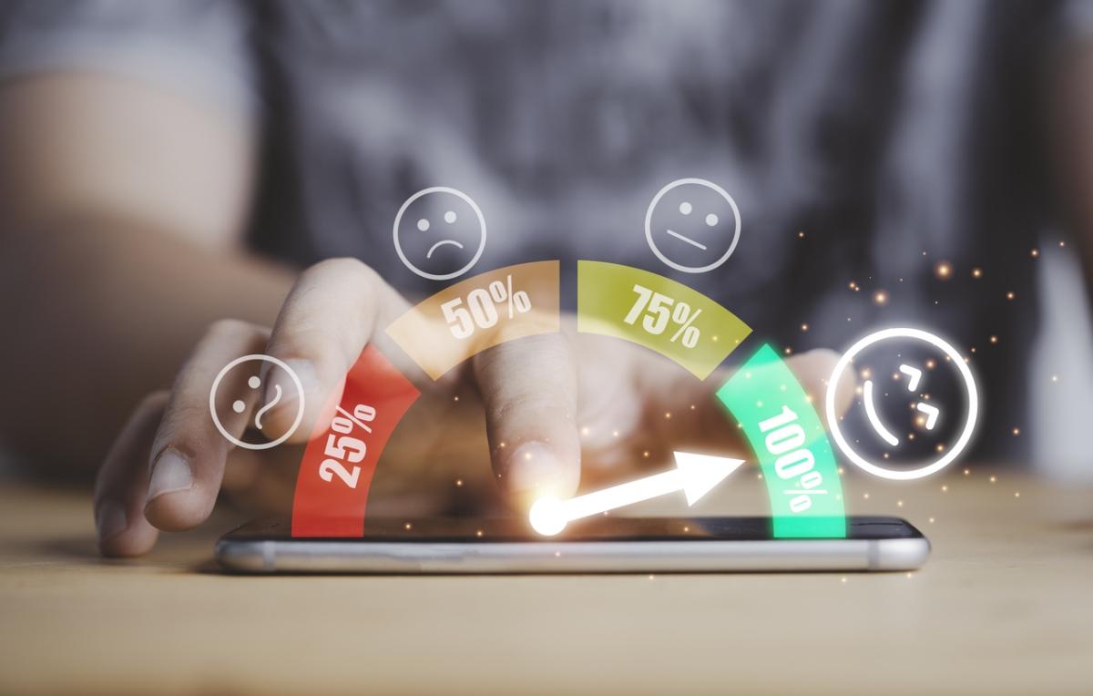 Customer empathy score on a smartphone