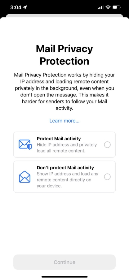 Apple Mail changes - Apple Mail Privacy prompt from the iOS15 Beta.