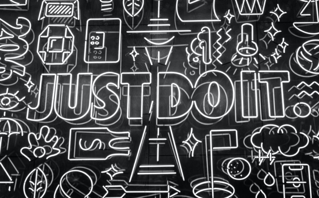"Artwork showing Nike's slogan, ""just do it""."