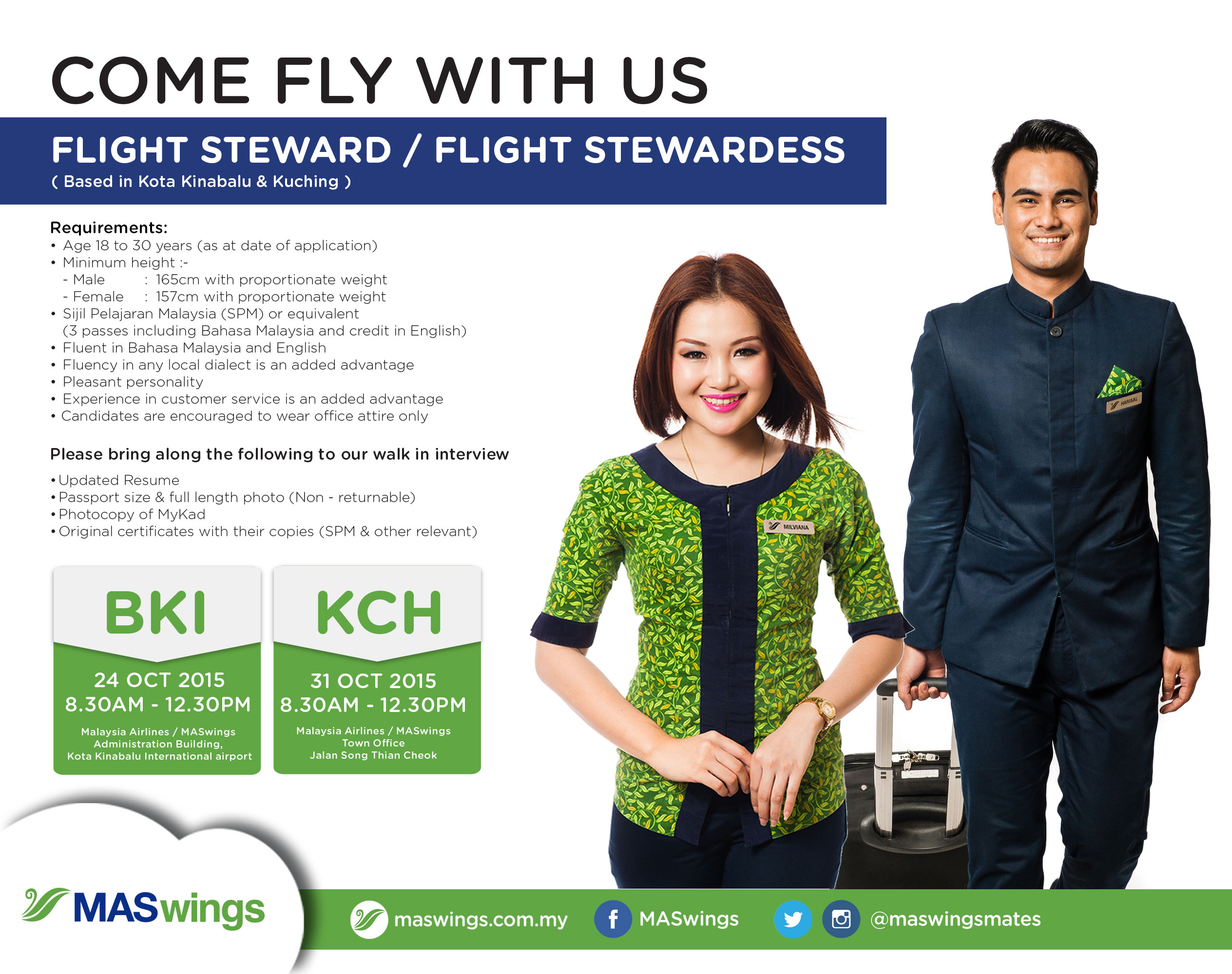 maswings cabin crew walk in interview october 2015
