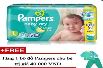 Mua Tã dán Pampers Jumbo L60, tặng 1 bộ đồ Pampers cho bé trị giá 40.000 VNĐ