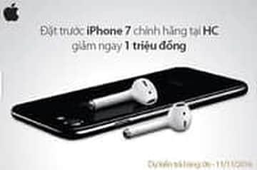 Giảm ngay 1.000.000đ khi đặt mua trước iphone 7 tại siêu thị điện máy HC