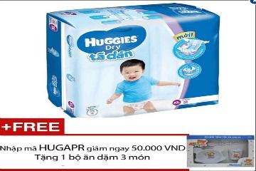 Mua Tã dán Huggies Dry Super Jumbo XL62, tặng 1 bộ tập ăn dặm 3 món cho bé