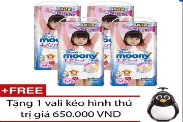 Mua bộ 4 gói tã quần Moony XL38 (Girl), tặng 1 vali kéo hình thú trị giá 650.000 VND