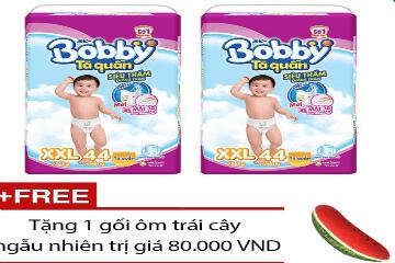 Mua Bộ 2 tã quần Bobby XXL44, tặng 1 gối ôm trái cây ngẫu nhiên
