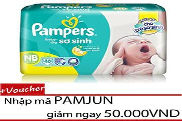 Giảm 50,000đ khi mua tã sơ sinh Pampers Newborn 40 và nhận thêm 5% Hoàn Tiền