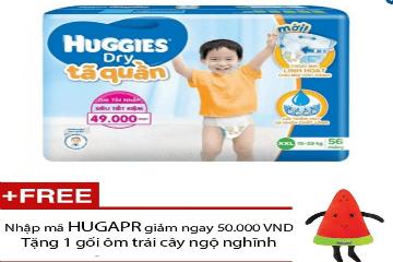 Mua tã quần Huggies Dry Pants Super Jumbo XXL56, tặng 1 gối ôm trái cây mùa hè