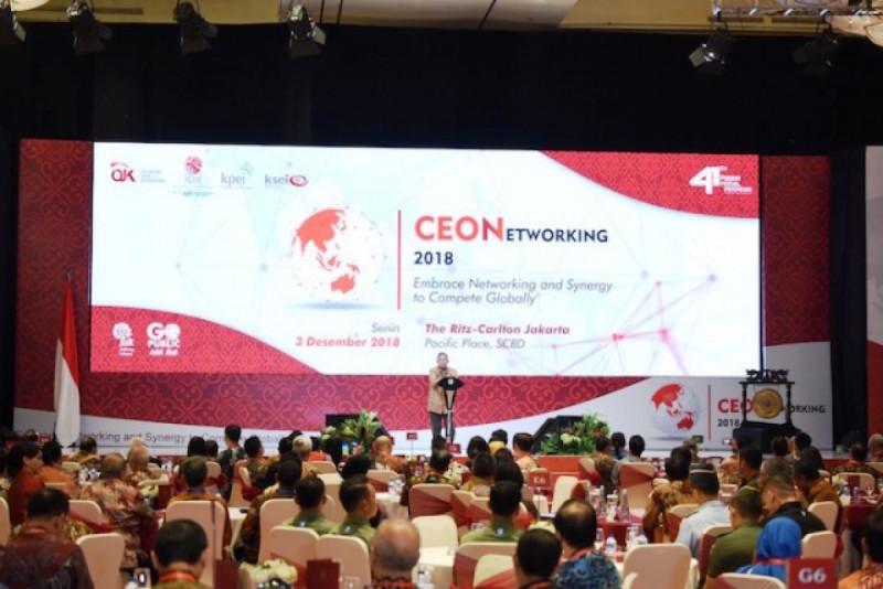 Menteri Koordinator Bidang Perekonomian Darmin Nasution dalam acara CEO Networking 2018, di Ritz-Carlton Pacific Place, Jakarta, (3/12/2018). Foto: Kominfo.