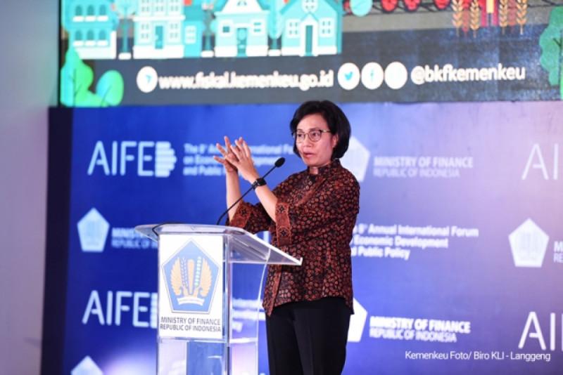 Menkeu Sri Mulyani Indrawati dalam acara The 8th Annual International Forum on Economic Development and Public Policy, di Ballroom Inaya Hotel Nusa Dua Bali, Kamis (06/12/18). Foto: Kemenkeu