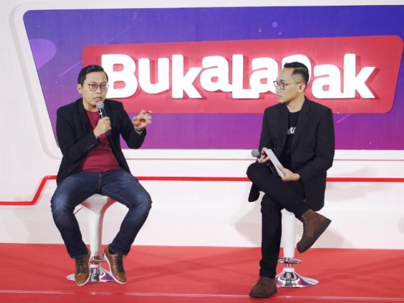 """Founder dan CEO Bukalapak, Achmad Zaky, dalam konferensi pers ulang tahun ke-9 Bukalapak """"Menerobos Batas"""" di Jakarta Convention Center, Kamis (10/1/2019). Foto: (doc/MNEWS)."""