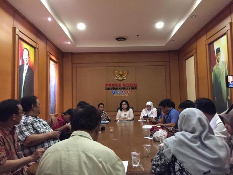 Konferensi Pers di Press Room Kementerian Koperasi dan UKM, Jumat, (8/2/2019). Foto: (doc/MNEWS).