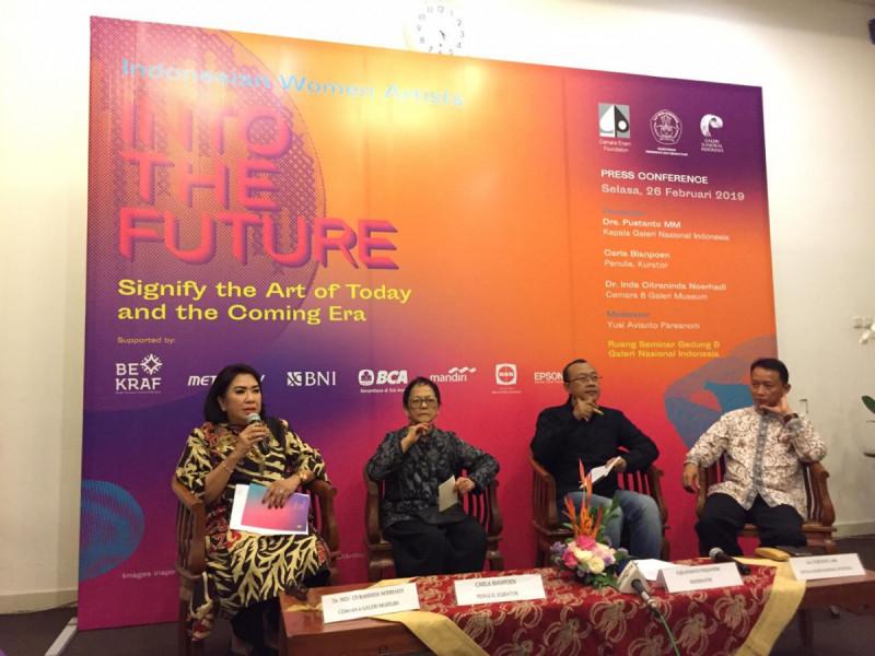 Konferensi Pers Indonesian Women Artists: Into the Future di Galeri Nasional Indonesia, Jakarta, Selasa (26/2/2019). Foto: (doc/MNEWS).