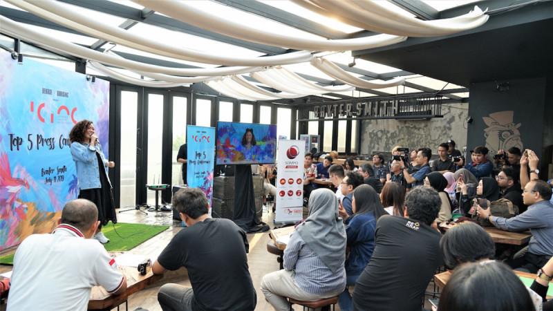 Salah satu peserta ICINC, Monica Eva Sancti (Monéva) tampil dalam acara Konferensi Pers ICINC Top 5 Announcement di Baxter Smith, Jakarta, pada Kamis (11/7/2019). (Foto: BEKRAF)