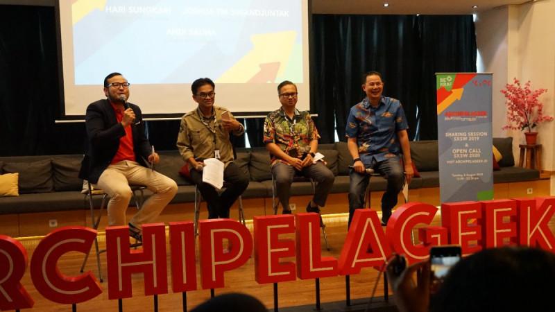 Sharing Session SXSW 2019 & Open Call SXSW 2020 di Jakarta, Selasa, (6/8/2019).