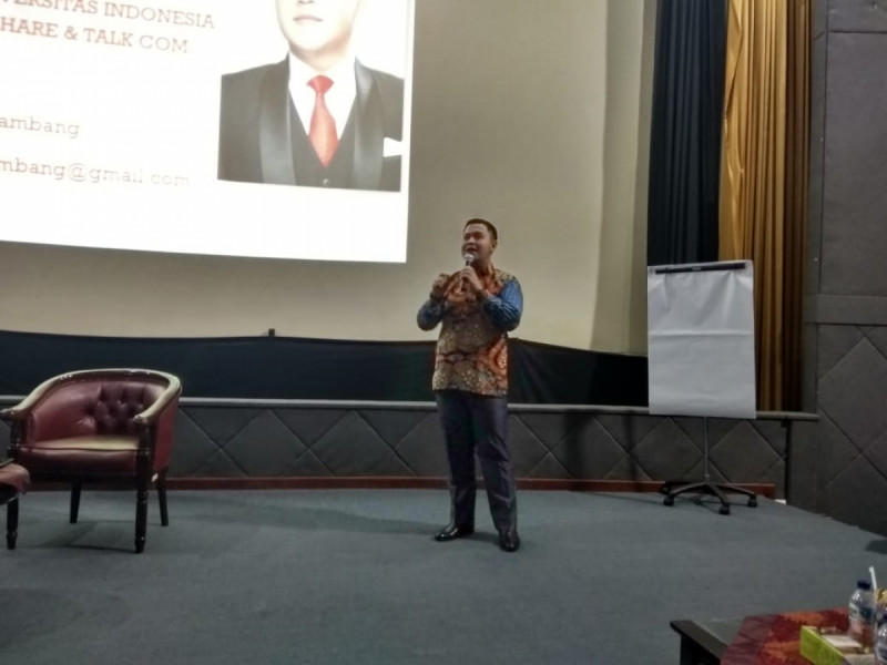 Reska Herlambang dalam acara Kelas Kewirausahaan Pemuda Kemenpora, Gedung Kemenpora, Jakarta, Selasa (20/8/19) Foto: (doc/MNEWS)