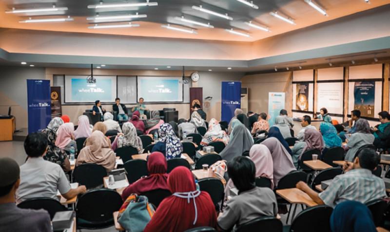 Suasana kegiatan seminar bertajuk 'Cara Pintar UMKM Bersaing di Era Digital' yang diadakan oleh WHEE Indonesia. di Student Center FEB UI, Depok, Kamis (28/11/19). (Foto: Radar Depok)