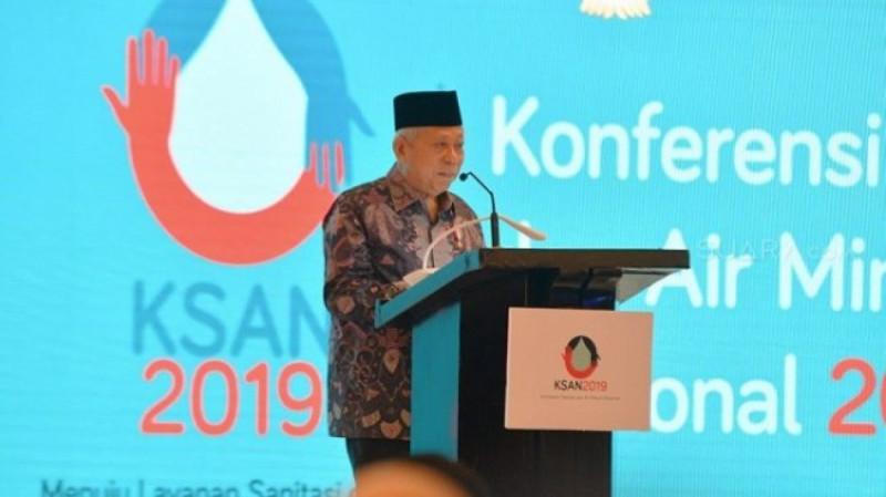 Wakil Presiden Ma'ruf Amin saat membuka acara Konferensi Sanitasi dan Air Minum Nasional (KSAN) 2019 di Hotel Kempersky, Jakarta, Senin (2/12/19).(Foto : Ria Rizki).