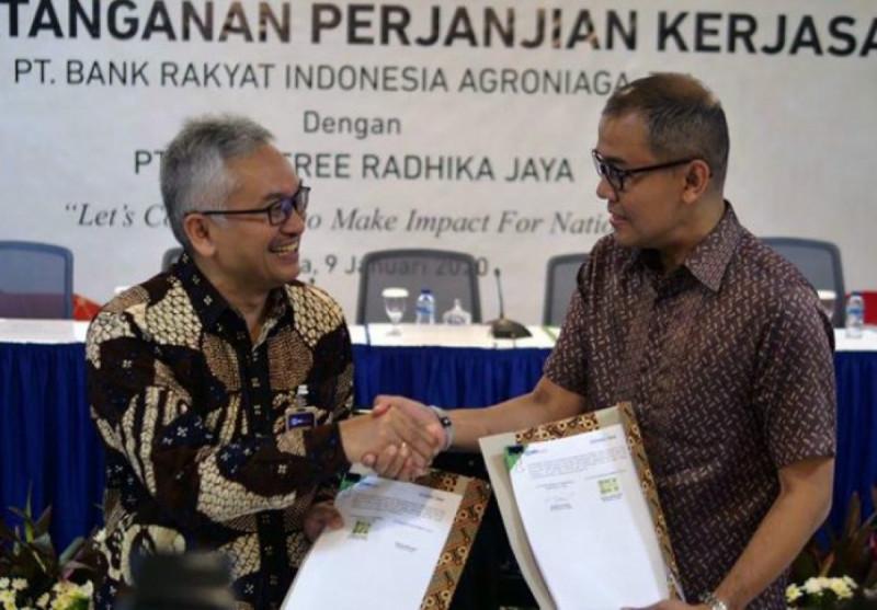 Plt Direktur Utama BRI Agro, Ebeneser Girsang, dan Chief of Sales Investree, Salman Baharuddin, saat menandatangani Perjanjian Kerja Sama. (Foto: Jawapos)