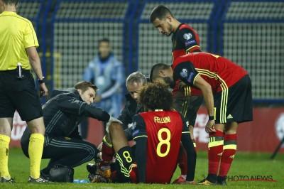 Cidera lutut Marouane Fellaini Absen di pertandingan melawan Liverpool