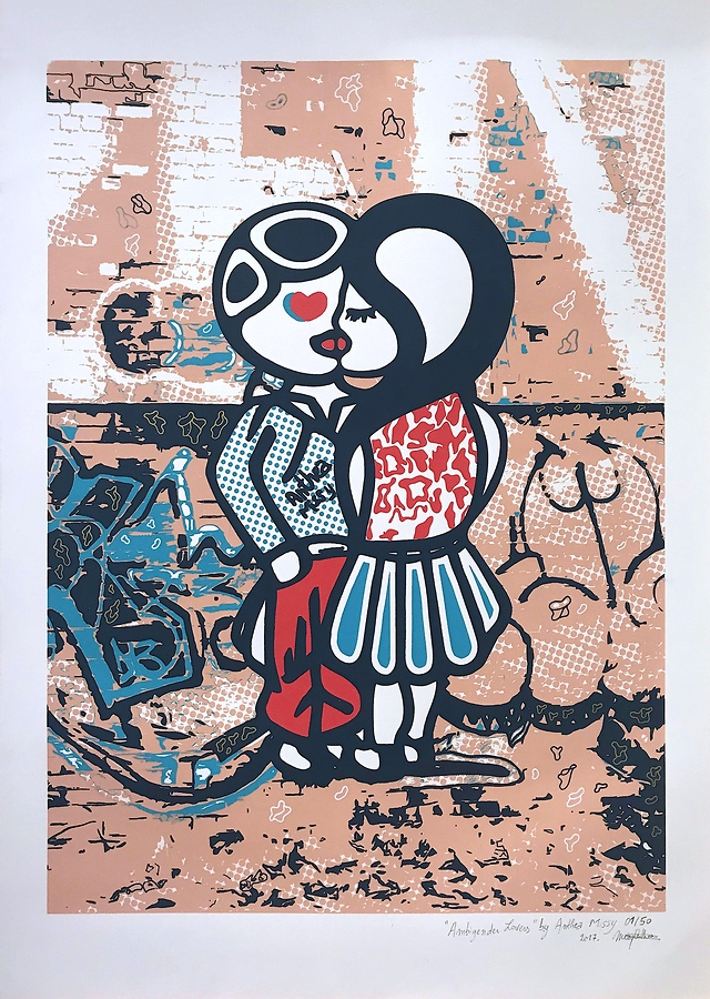 'Ambigender Lovers' - A New Screen Print By The Fabulous Street Artist Anthea Missy 🎀