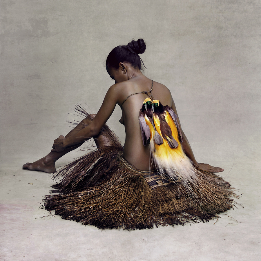 Young Woman with Paradise Birds, New Guinea