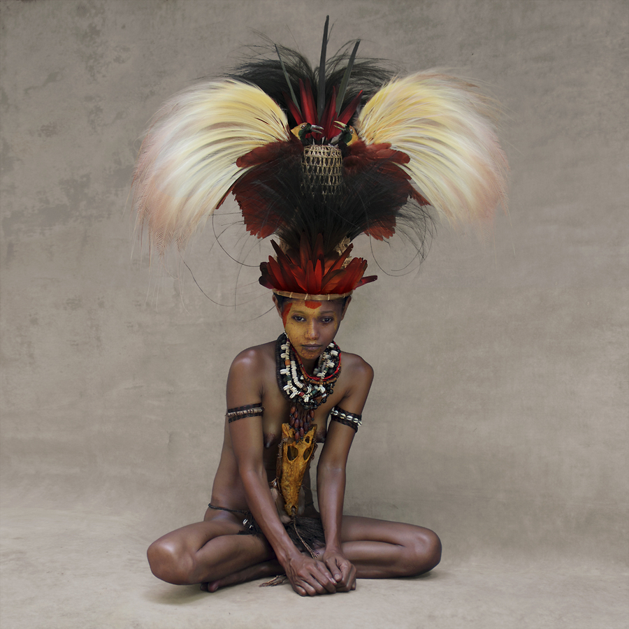 Young Woman with Feather Headpiece, New Guinea