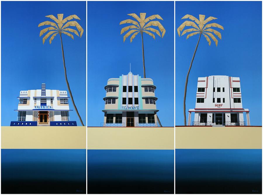 Miami Deco Buildings [Triptych] – Century, The Wave & Surf