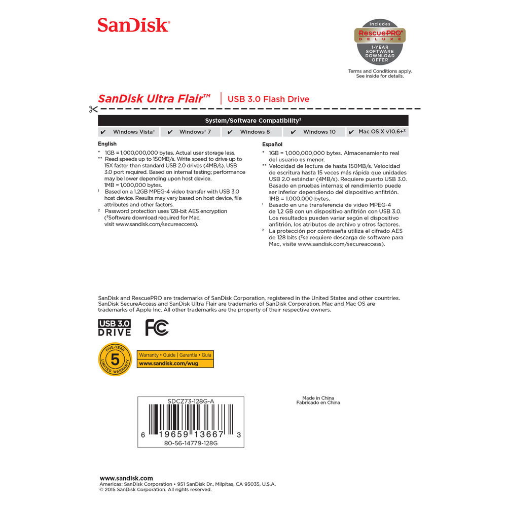 SanDisk 128GB Ultra Flair USB 3.0 Flash Drive