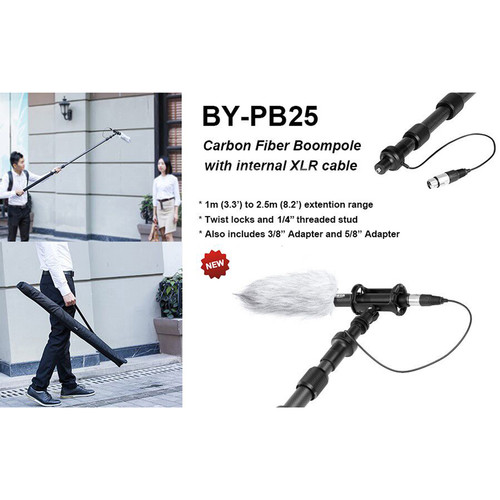 BOYA BY-PB25 Universal Carbon Fiber Boompole with Internal XLR Cable (8.2)