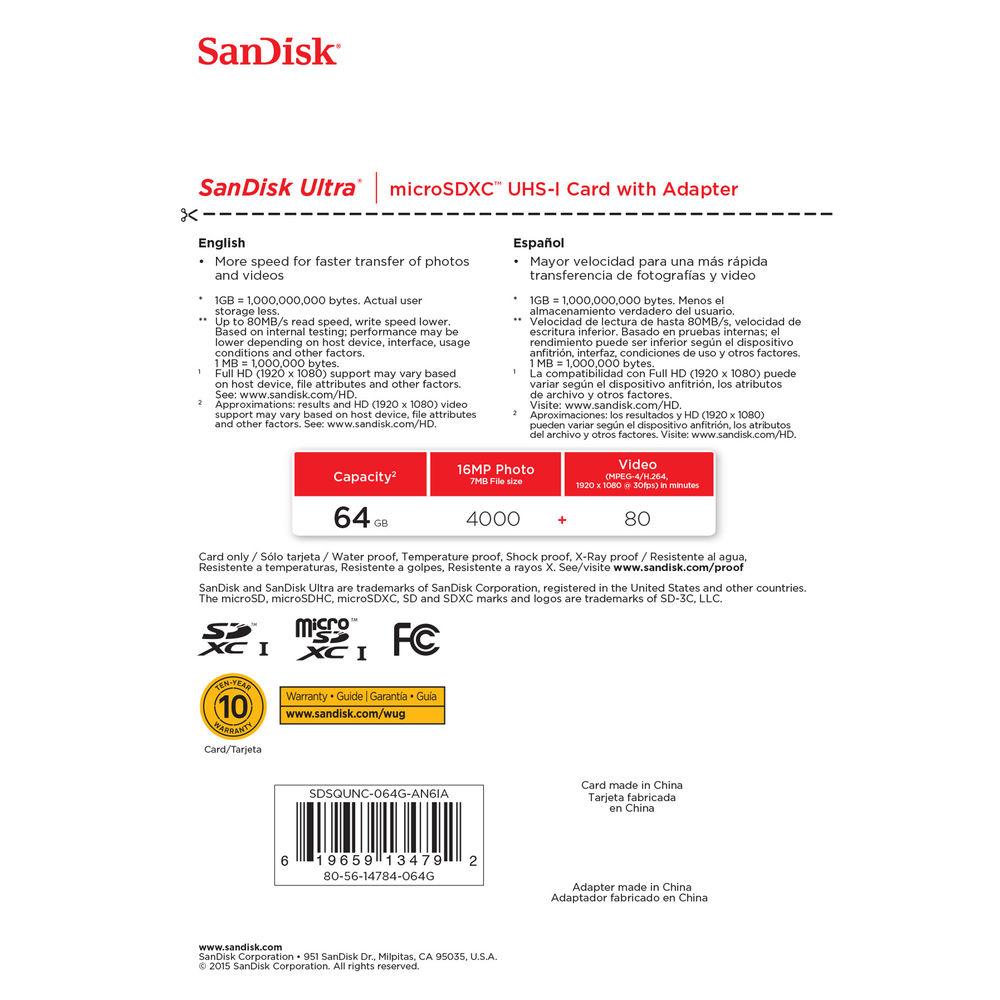 SanDisk 64GB Ultra UHS-I microSDXC Memory Card (Class 10)