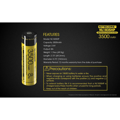 Nitecore NL1835HP High Performance Protected Li-Ion Battery (3.6V, 3500mAh, 8A)