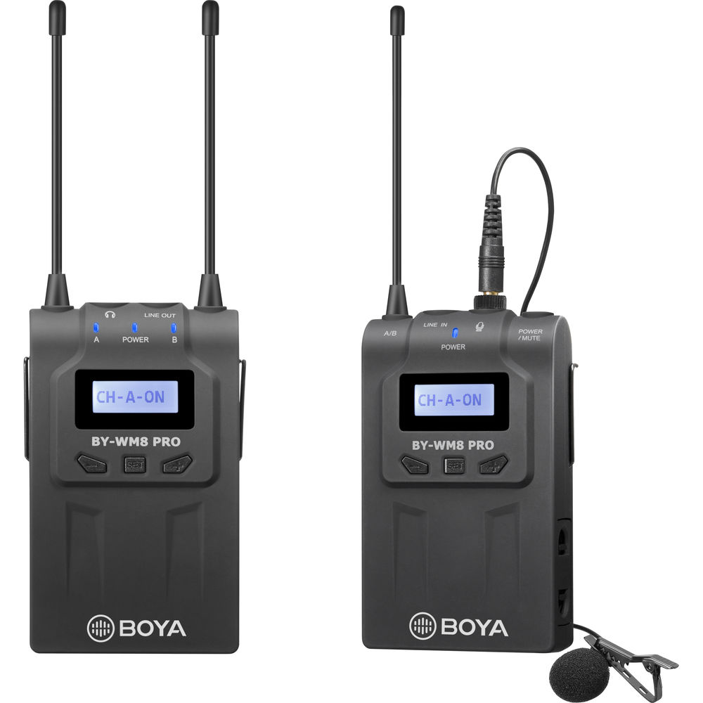 BOYA BY-WM8 Pro-Kit 1 UHF Dual-Channel Wireless Lavalier System (A: 556.7 to 575.9 MHz)