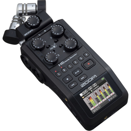 Zoom H6 All Black 6-Input / 6-Track Portable Handy Recorder with Single Mic Capsule (Black)