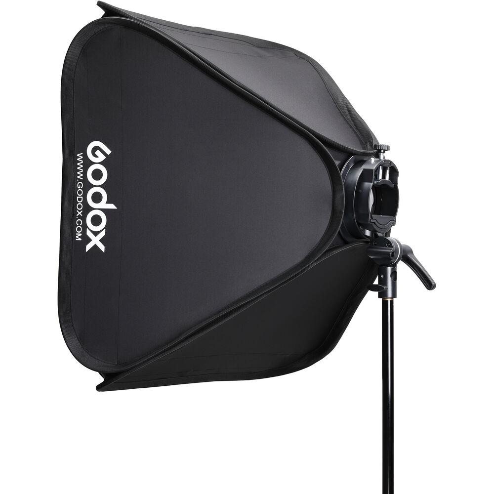 Godox S2 Bowens Mount Bracket with Softbox, Grid & Carrying Bag Kit (60x60cm))