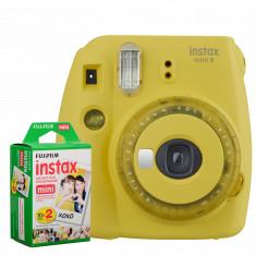 FUJIFILM INSTAX Mini 9 Instant Film Camera (Yellow) With FUJIFILM INSTAX Mini Instant Film (20 Exposures)