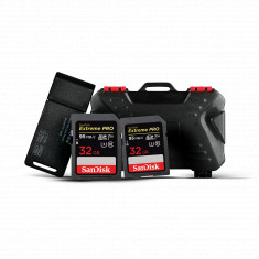 2x SanDisk 32GB Extreme PRO SDHC UHS-I Memory Card with KH 10 Memory Cards Holder & USB Card Reader