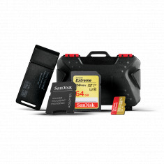 SanDisk 64GB Extreme SDXC & 32GB Extreme  microSDHC Memory Cards with Card holder & Usb Card Reader
