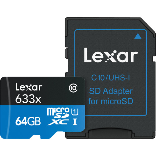 Lexar 64GB High-Performance 633x UHS-I microSDXC Memory Card with SD Adapter