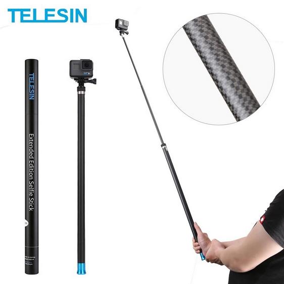 TELESIN 270cm Super Long Carbon Fiber Selfie Stick