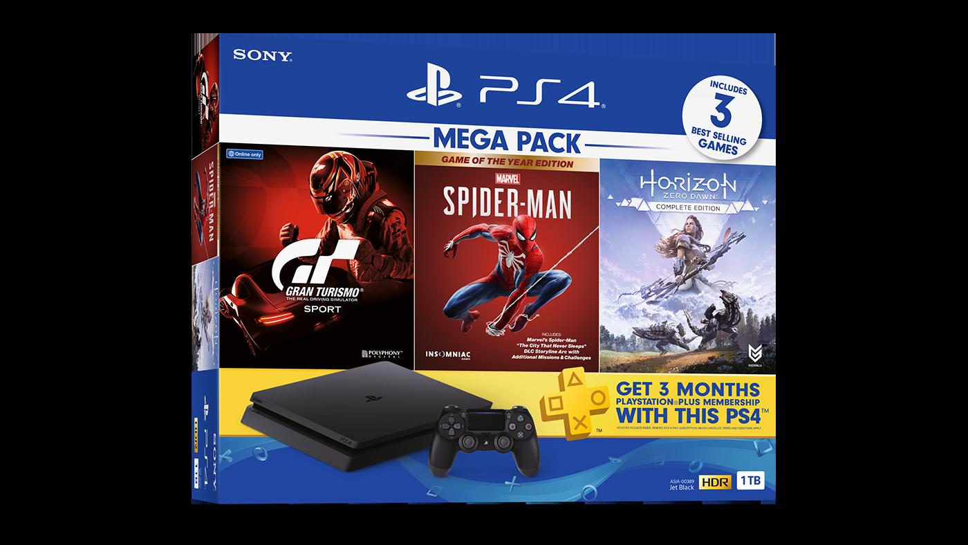 PS4 Mega Pack Marvels Spider-Man Game Of The Year Edition / Horizon Zero Dawn / Gran Turismo 1TB