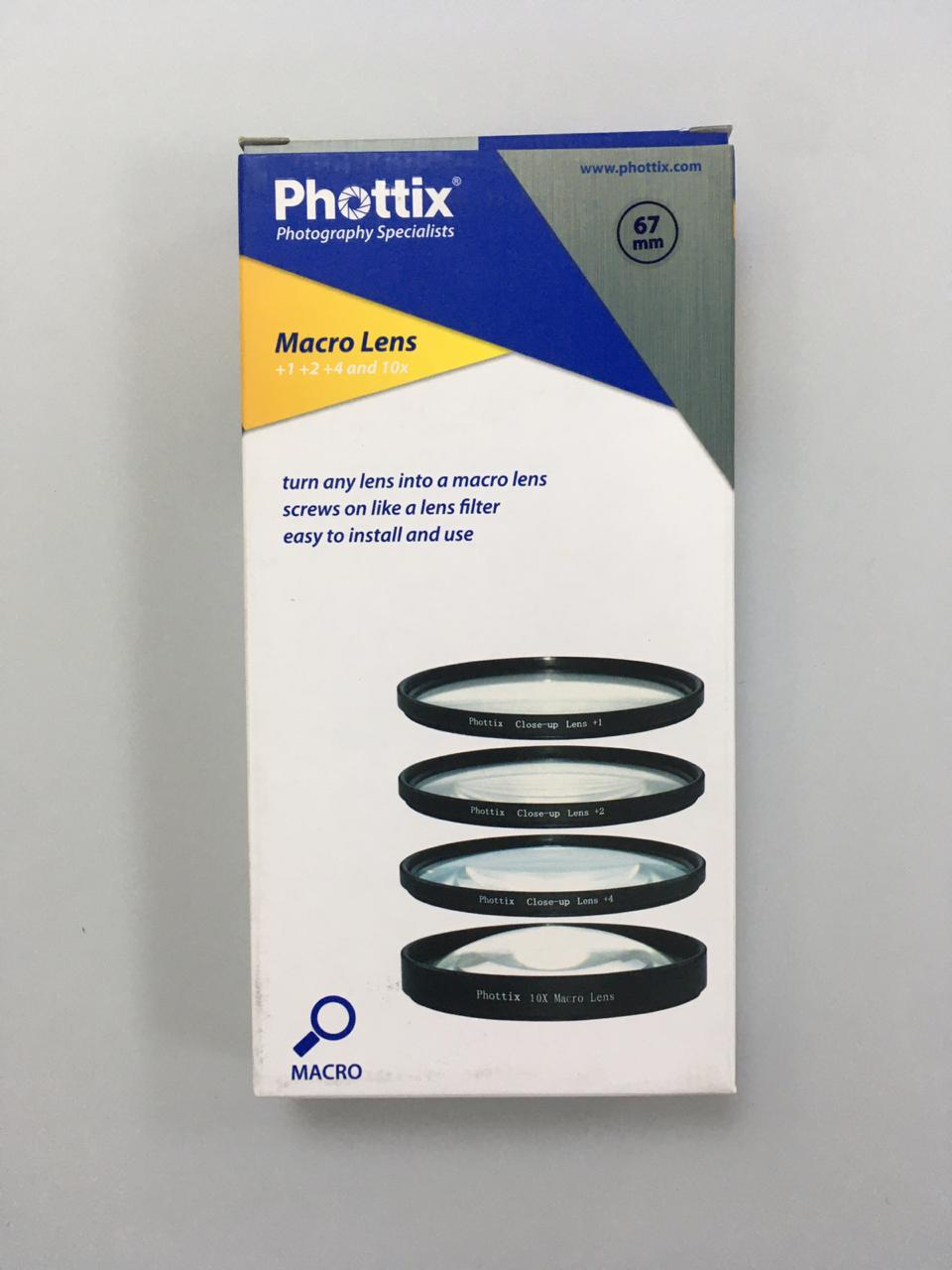 Phottix +1,+2,+4,10x Macro Lens (Close-up Lens) 67mm
